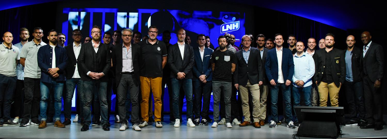 Les entraîneurs et capitaines des 28 équipes de Lidl Starligue et de Proligue étaient présents à la conférence de rentrée de la LNH, lundi 3 septembre 2018.
