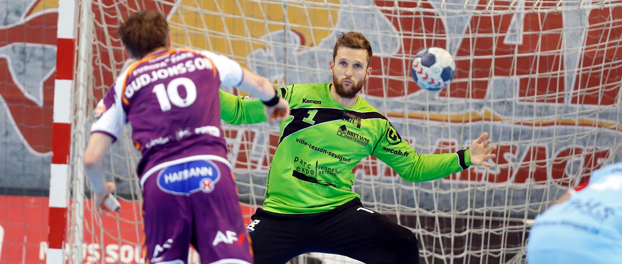 Mickaël Robin, ici face au sélestadien Snorri Guðjónsson, a passé 2 saisons sous les couleurs de Cesson-Rennes (2014 à 2016).
